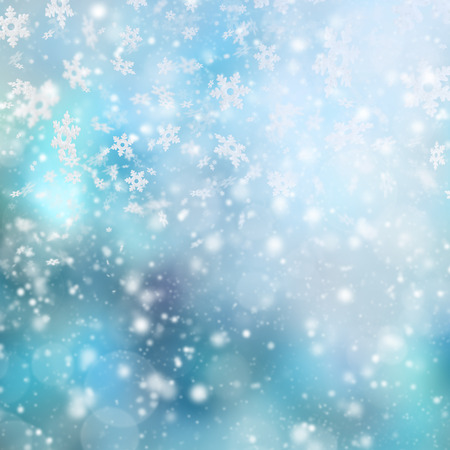 Abstract snowy blur winter background with spotlights Stock Photo