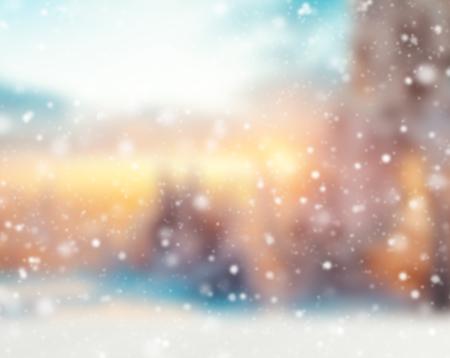 Abstract nevoso inverno sfondo sfocato con faretti Archivio Fotografico - 46633118