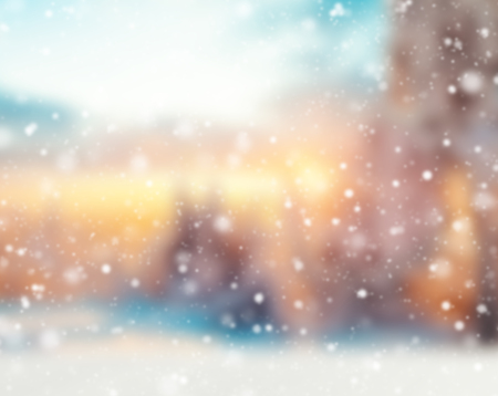 coloured background: Abstract snowy blur winter background with spotlights Stock Photo
