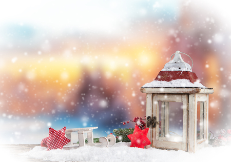 snow landscape: Christmas still life background with decoration in snow Stock Photo