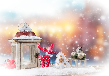 winter holiday: Christmas still life background with decoration in snow Stock Photo