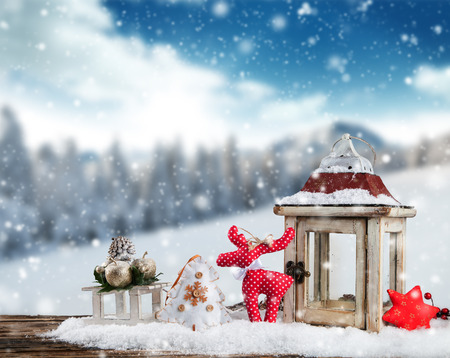 scene season: Christmas still life background with decoration in snow Stock Photo