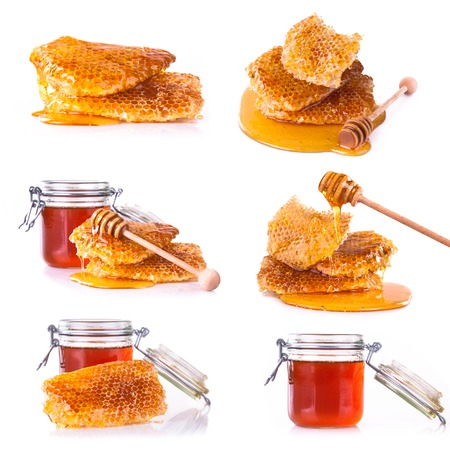 honey cell: Fresh honey collection isolated on white background