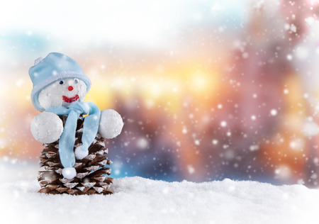 landscape background: Christmas still life background with snowman