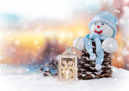happy holidays: Christmas still life background with snowman