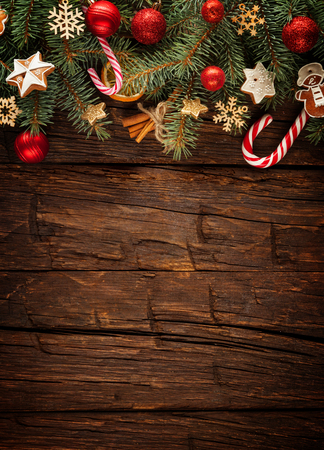 Christmas fir tree with decoration on a wooden board. Free space for text Stock fotó - 48418032