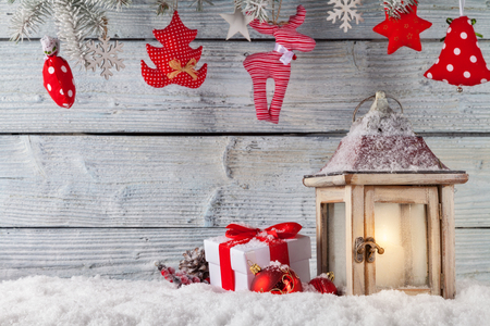christmas winter: Christmas still life background with decoration in snow Stock Photo