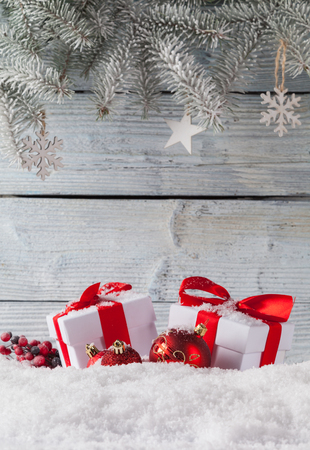 cold background: Christmas still life decoration with wooden background. Stock Photo