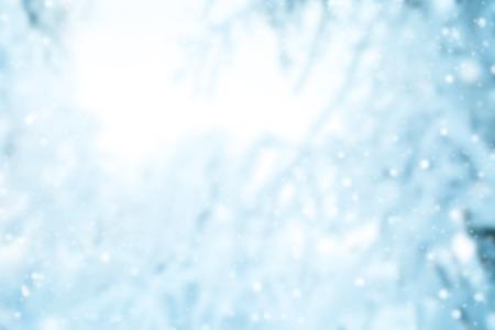 abstrakt Unschärfe Hintergrund Winter mit schneebedeckten Zweige