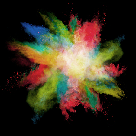 coloured: Freeze motion of colored dust explosions isolated on black background