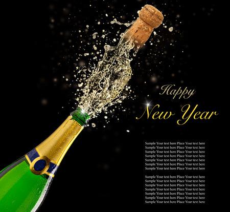 popping cork: Celebration theme with splashing champagne, isolated on black background
