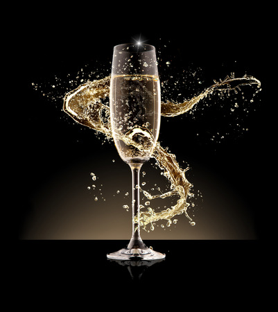 Glass of champagne with splash, isolated on black background 版權商用圖片 - 49084989