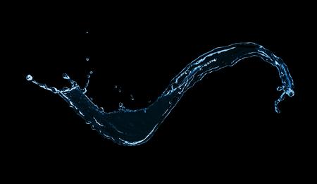 liquid splash: blue abstract water splash isolated on blakc background
