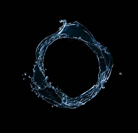 circular water ripple: blue abstract water splash in circle shape, isolated on black background