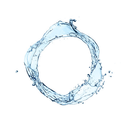 blue abstract water splash in circle shape, isolated on white background Imagens