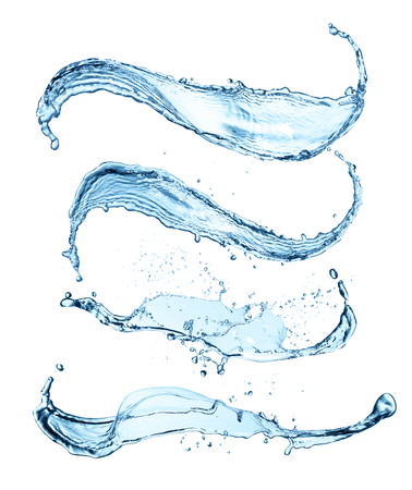 blue abstract water splash collection isolated on white background