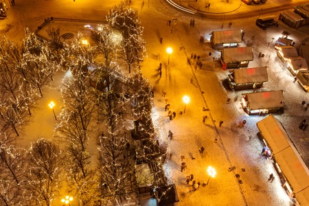oldtown: Christmas marketplace in Oldtown square, Prague, Czech Republic. Shot from aerial view