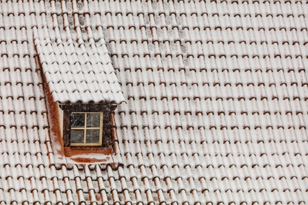skylight: Old town skylight in winter, covered with snow
