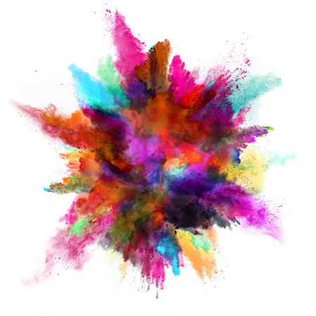 powder blue: Explosion of colored powder, isolated on white background