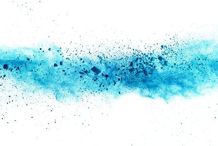 パウダー ブルー、白い背景で隔離の爆発
