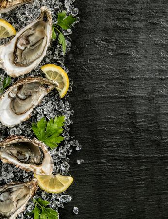 Oesters geserveerd op stenen plaat met ijsgang en citroen. Stockfoto