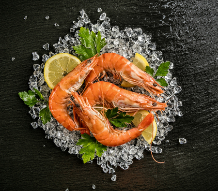 drifting ice: Cooked prawns served on black stone, placed on ice drift