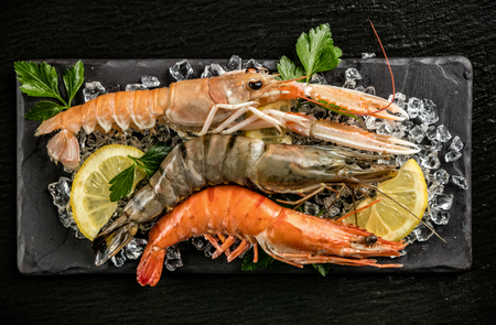 Prawns and lobster served on black stone, placed on ice drift