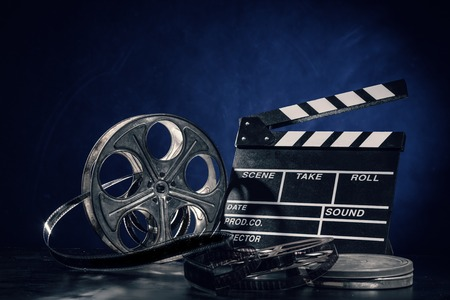 Retro accessori di produzione Film still life. Concetto di cinema.