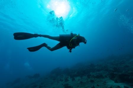 Young female scuba diver silhouette swimming underwater 스톡 콘텐츠