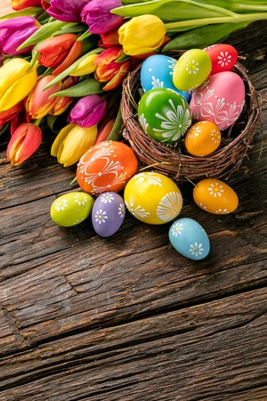 baskets: Colorful easter eggs and tulips placed on wooden planks. Copyspace for text Stock Photo