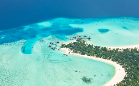Aerial view on beautiful Maldives island in Raa atol