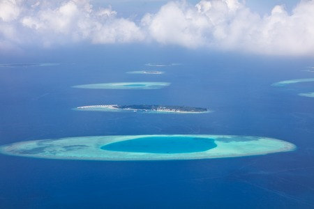 Aerial view on beautiful Maldives islands in Raa atol Banco de Imagens