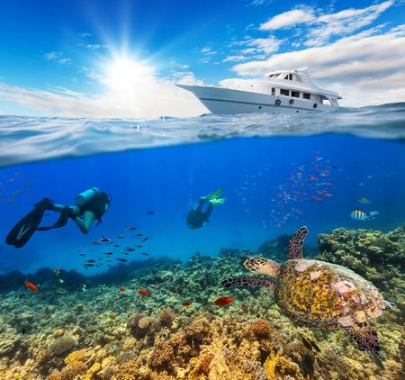 Podwodne widoki rafy koralowej i nurków z horyzontem i powierzchnią wody podzielone przez wodnicę. Zakotwiczanie jachtu na falach. Koncepcja wakacje letnie. Wysoka rozdzielczość