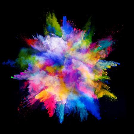 Eksplozja kolorowego proszku, samodzielnie na czarnym tle Zdjęcie Seryjne