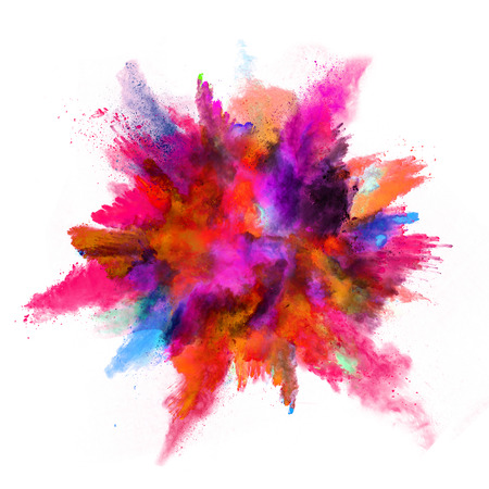 orange color: Explosion of colored powder, isolated on white background