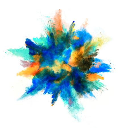 Explosion of colored powder, isolated on white background Imagens