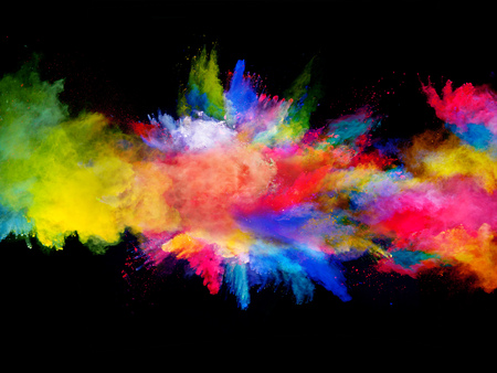 color: Explosion of colored powder, isolated on black background Stock Photo