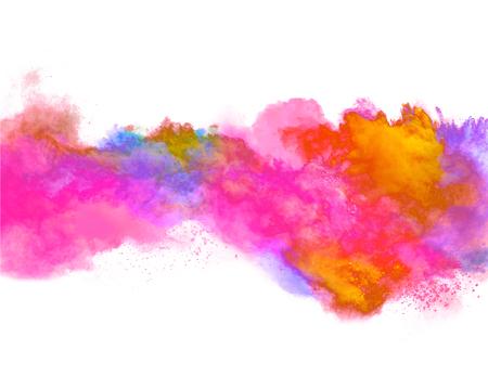 Esplosione di polvere colorata, isolato su sfondo bianco Archivio Fotografico - 53581433