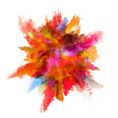 色粉は、白い背景で隔離の爆発 写真素材