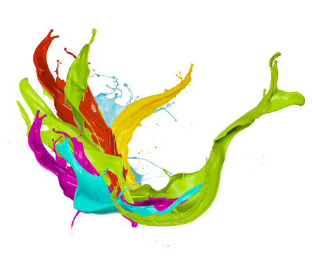 Abstract colored paint splash, isolated on white background Stock Photo