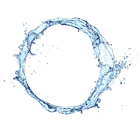 circular blue water ripple: Blue abstract water splash in circle shape, isolated on white background