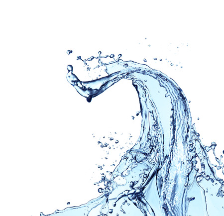 Blue abstract water splash isolated on white background