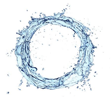 흰색 배경에 고립 된 원 모양의 파란색 추상 물 시작, 스톡 콘텐츠