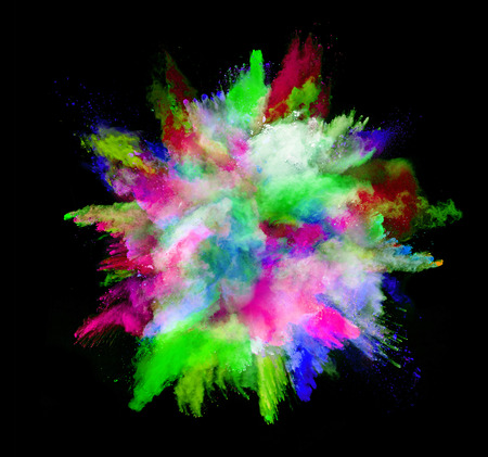 colored powder: Explosion of colored powder, isolated on black background Stock Photo