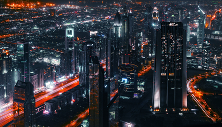 city road: Aerial vief of Sheikh Zayed Road photographed from Burj Khalifa in the evening in Dubai, UAE