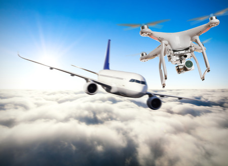 potentially: Drone potentially being hit by commercial airplane. Concept of aircraft accident. Thread of collision