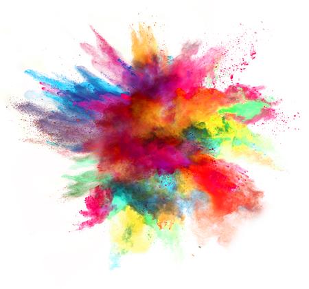 색깔 분말의 폭발, 흰색 배경에 고립