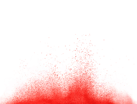 Explosion of red powder, isolated on white background