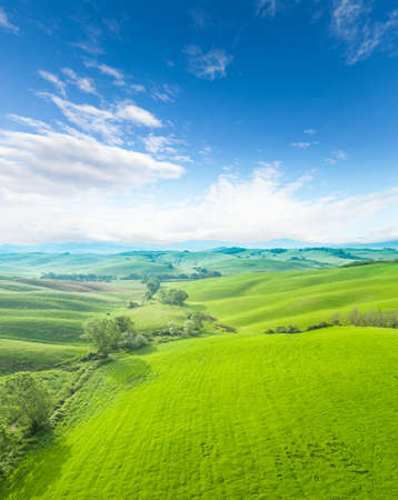 agriturismo: Beautiful Aerial Tuscany landscape with blue cloudy sky Stock Photo