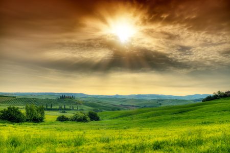 Beautiful morning Tuscany landscape with typical farm house, Italy Shot on HDR method